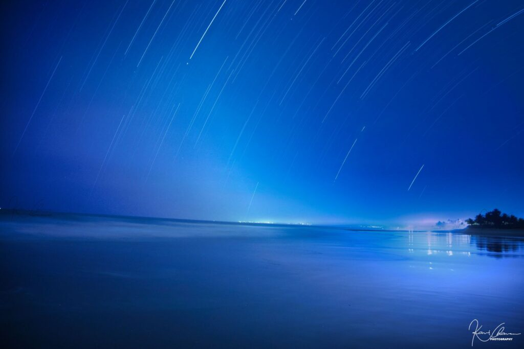 Beautiful night view of beach with Natural Starry Sky