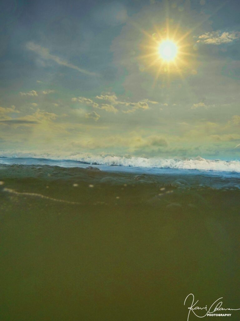 sunrays along with underwater image